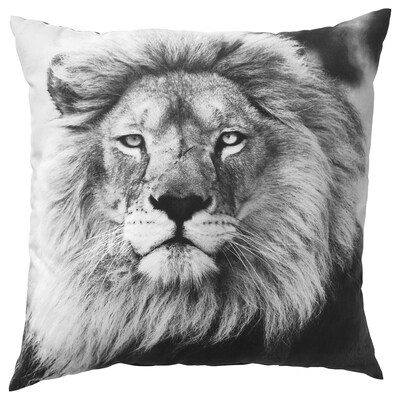 URSKOG Coussin, lion/gris, 50x50 cm