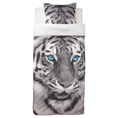 URSKOG Housse de couette et taie, tigre/gris, 150x200/50x60 cm