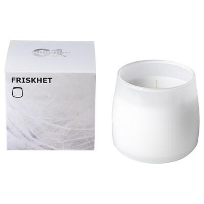 FRISKHET Bougie parfumée dans verre, Brise de lin/blanc, 7.5 cm