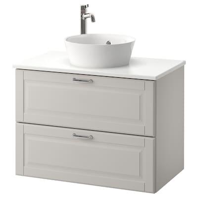 GODMORGON/TOLKEN / KATTEVIK Élément lavabo avec lavabo à poser, Kasjön gris clair/marbré Voxnan mitigeur lavabo, 82x49x75 cm