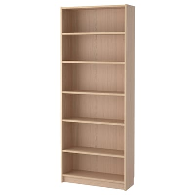 BILLY Bibliothèque, plaqué chêne blanchi, 80x28x202 cm