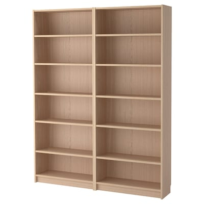 BILLY Bibliothèque, plaqué chêne blanchi, 160x28x202 cm