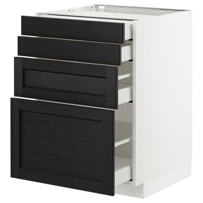 METOD / MAXIMERA Élément bas 4 faces/4 tiroirs, blanc/Lerhyttan teinté noir, 60x60 cm
