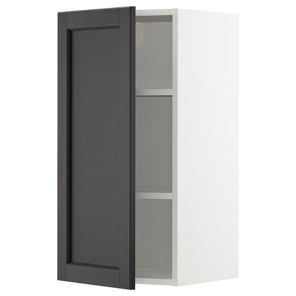 METOD Élément mural + tablettes, blanc/Lerhyttan teinté noir, 40x80 cm