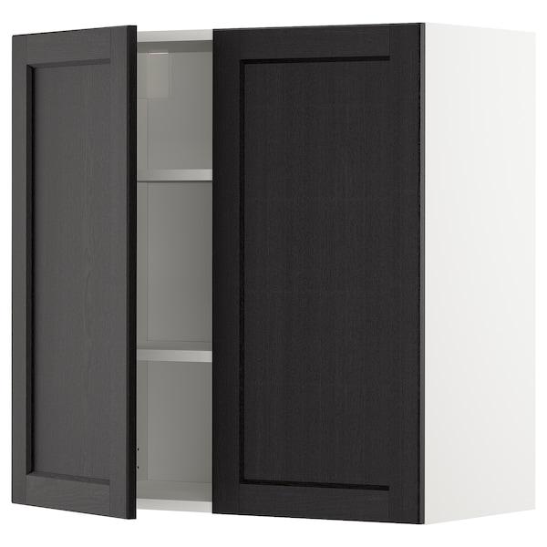 METOD Élément mural tablettes/2portes, blanc/Lerhyttan teinté noir, 80x80 cm
