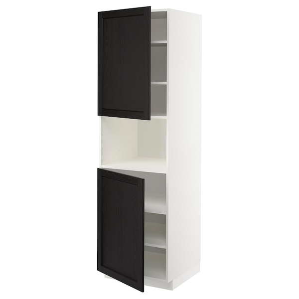 METOD Armoire micro-ondes+2ptes/tablette, blanc/Lerhyttan teinté noir, 60x60x200 cm