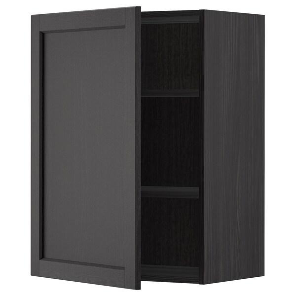 METOD Élément mural + tablettes, noir/Lerhyttan teinté noir, 60x80 cm