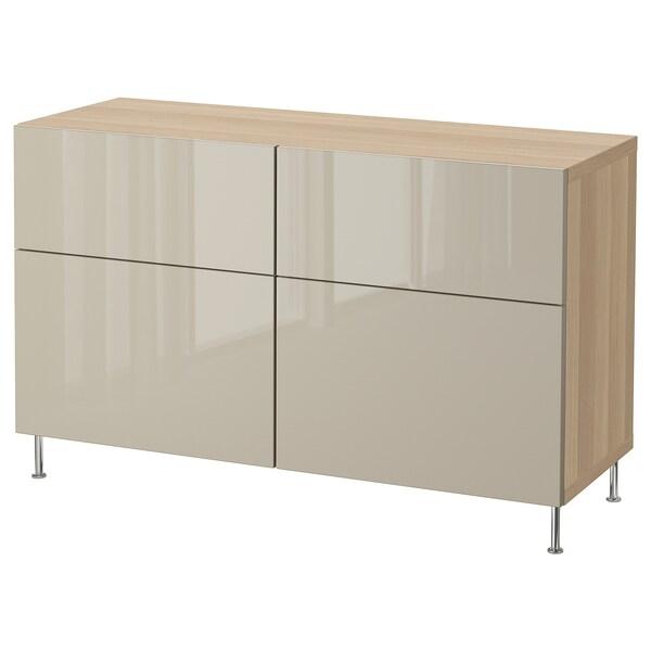 BESTÅ Combi rangement portes/tiroirs, effet chêne blanchi/Selsviken/Stallarp brillant/beige, 120x40x74 cm