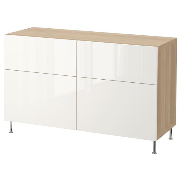BESTÅ Combi rangement portes/tiroirs, effet chêne blanchi/Selsviken/Stallarp brillant/blanc, 120x40x74 cm
