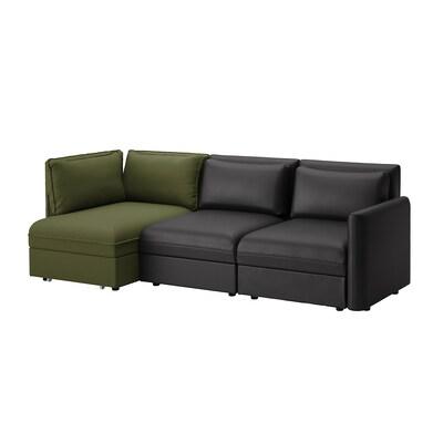 VALLENTUNA Canapé modulaire 3 pl avec conv, et rangement/Murum/Orrsta noir/vert olive