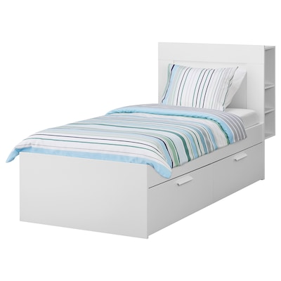 BRIMNES Cadre de lit+rangement/tête de lit, blanc/Luröy, 90x200 cm