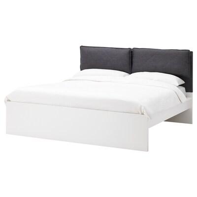 MALM Housse tête de lit avec 2 oreillers, Skiftebo gris foncé, 180 cm