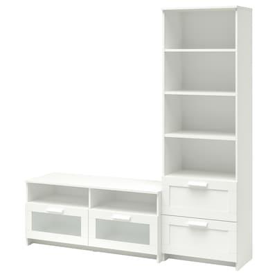 BRIMNES Combinaison meuble TV, blanc, 180x41x190 cm