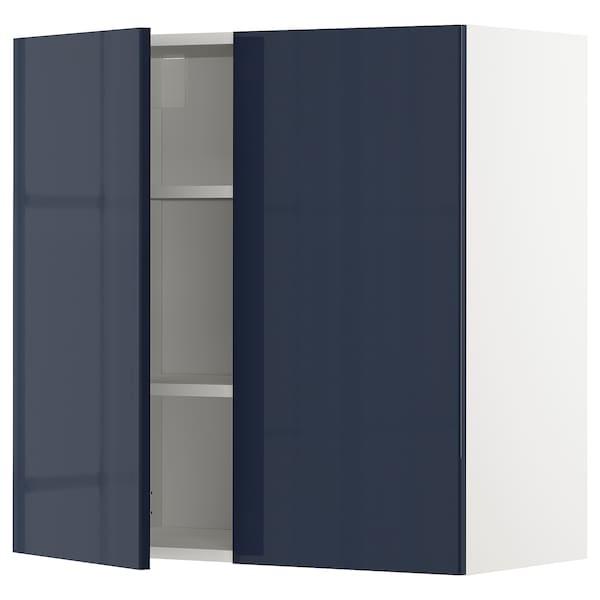 METOD Élément mural tablettes/2portes, blanc/Järsta bleu noir, 80x80 cm