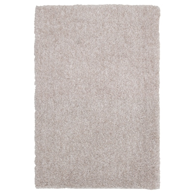 LINDKNUD Tapis, poils hauts, beige, 60x90 cm