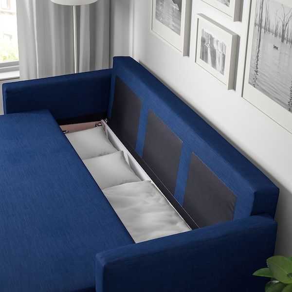 FRIHETEN Canapé 3 places convertible, Skiftebo bleu