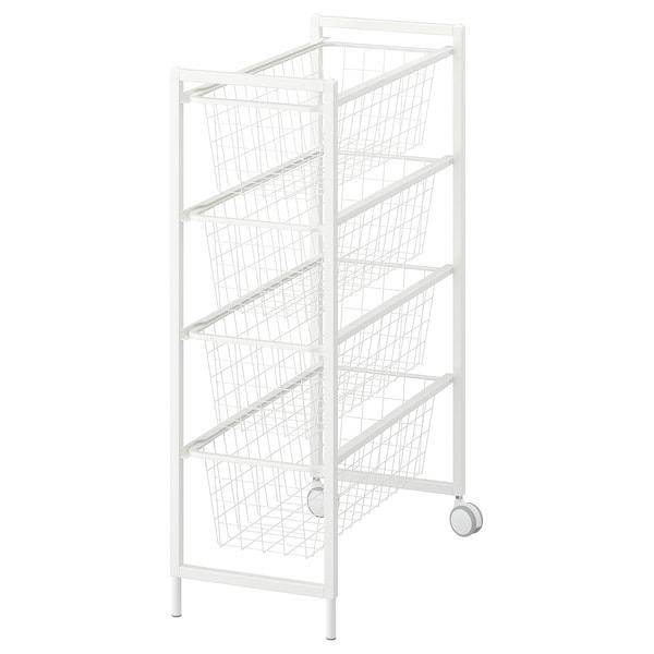 JONAXEL Structure avec corb métal/roulettes, blanc, 25x51x73 cm