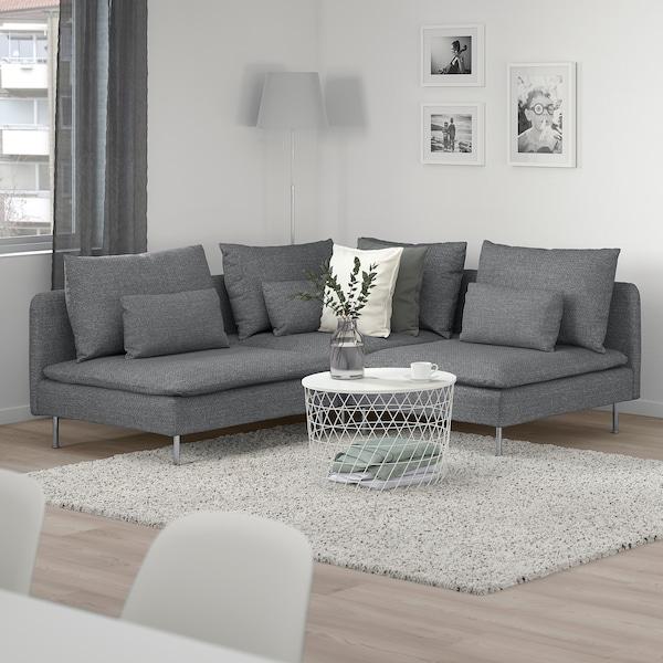 SÖDERHAMN Canapé d'angle, 3 places, Lejde gris/noir