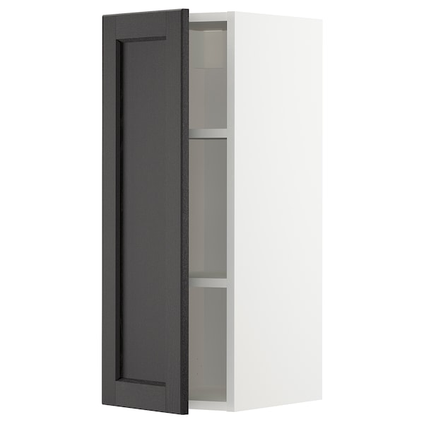 METOD Élément mural + tablettes, blanc/Lerhyttan teinté noir, 30x80 cm