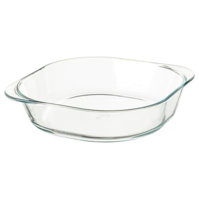 FÖLJSAM Plat à four, verre transparent, 24.5x24.5 cm