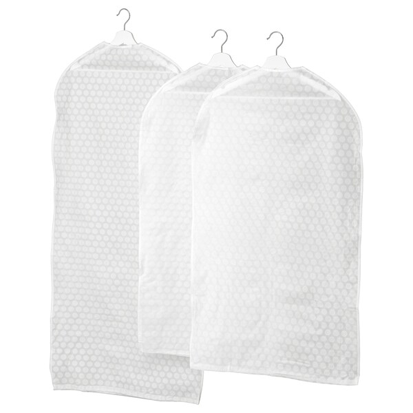 PLURING Housse vêtements lot de 3, blanc transparent