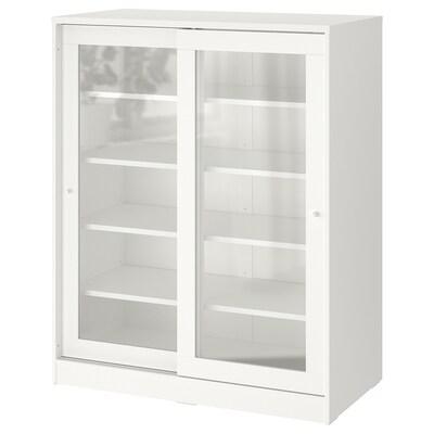 SYVDE Rangement avec portes en verre, blanc, 100x123 cm