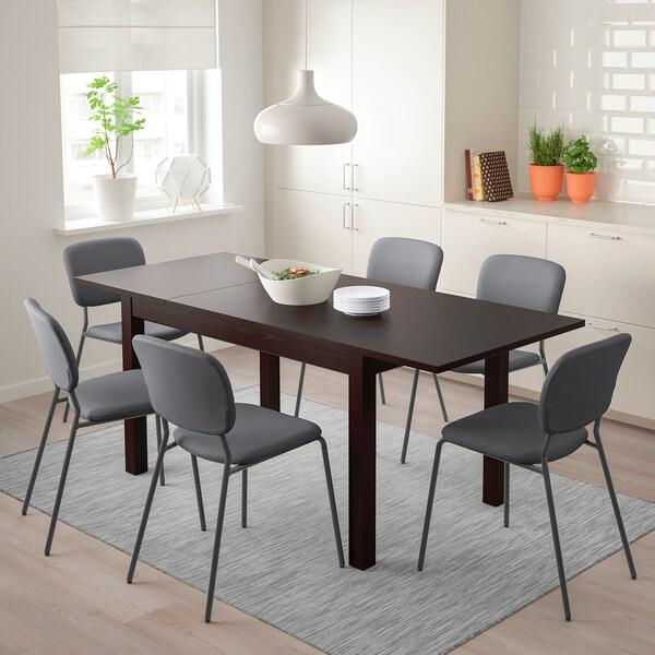 LANEBERG Table extensible, brun, 130/190x80 cm