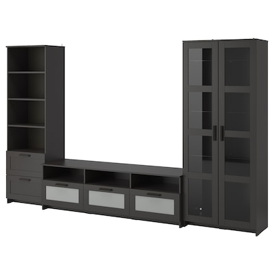 BRIMNES Rangement TV/vitrines, noir, 320x41x190 cm