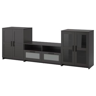 BRIMNES Combinaison rangt TV/vitrines, noir, 276x41x95 cm