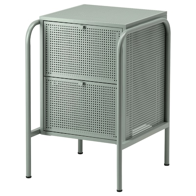 NIKKEBY Commode 2 tiroirs, gris vert, 46x70 cm
