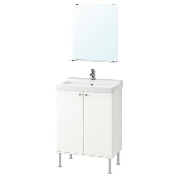 FULLEN / TÄLLEVIKEN Mobilier salle de bain, 5 pièces, blanc/Olskär mitigeur lavabo, 61 cm