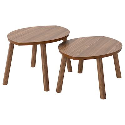STOCKHOLM Tables gigognes, lot de 2, plaqué noyer
