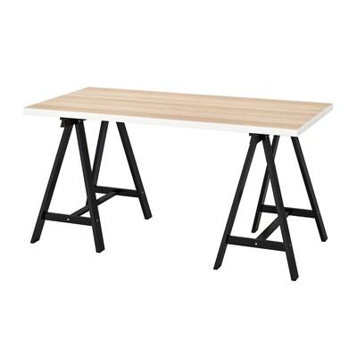 LINNMON / ODDVALD Table, blanc effet chêne blanchi/noir, 150x75 cm