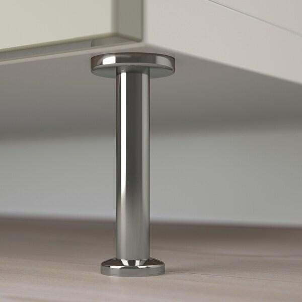 BESTÅ Combi rangement portes/tiroirs, blanc/Selsviken/Stallarp brillant/beige, 120x40x74 cm