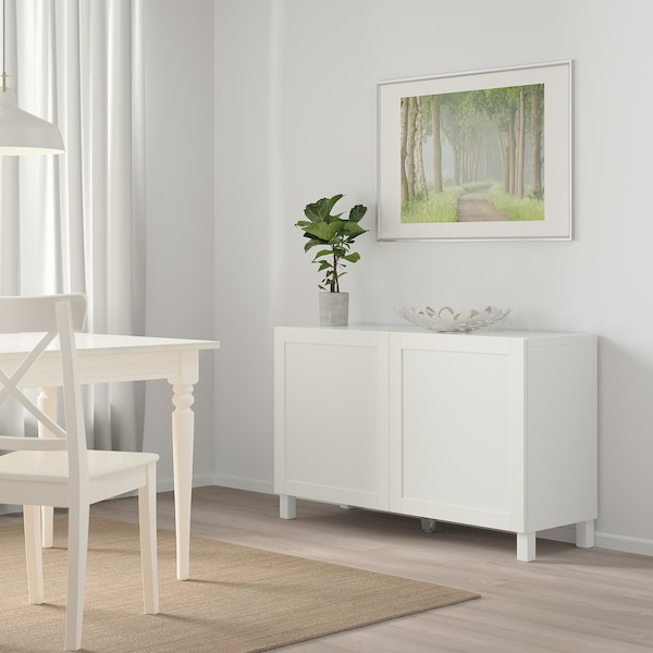 BESTÅ Combinaison rangement portes, blanc/Hanviken blanc, 120x42x65 cm