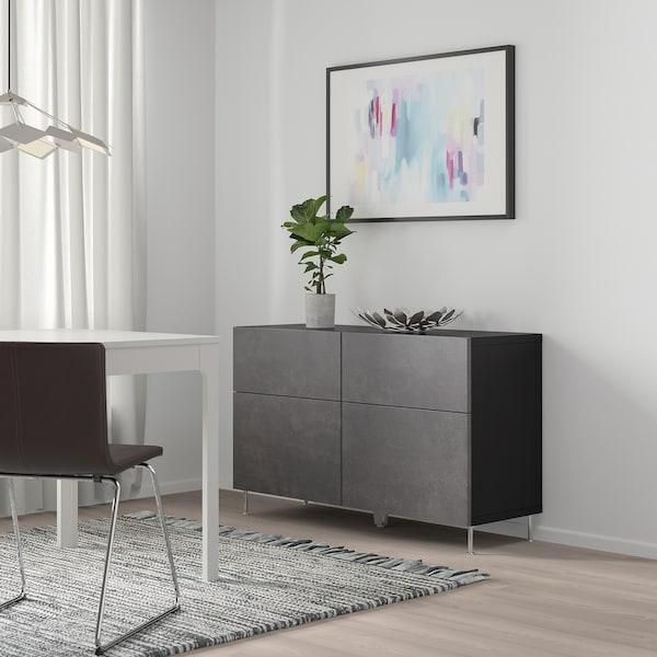 BESTÅ Combi rgt portes/tiroirs, brun noir Kallviken/gris foncé imitation ciment, 120x42x65 cm