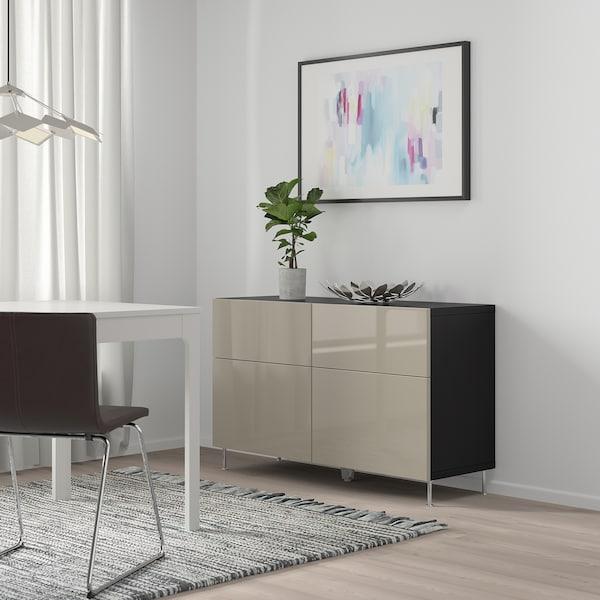 BESTÅ Combi rangement portes/tiroirs, brun noir/Selsviken/Stallarp brillant/beige, 120x40x74 cm