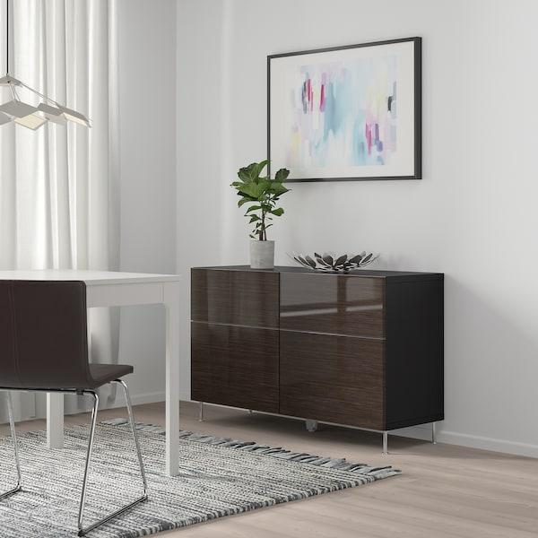 BESTÅ Combi rangement portes/tiroirs, brun noir/Selsviken/Stallarp brillant/brun, 120x40x74 cm
