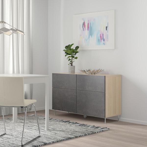 BESTÅ Combi rangement portes/tiroirs, effet chêne blanchi Kallviken/Stallarp/gris foncé imitation ciment, 120x40x74 cm