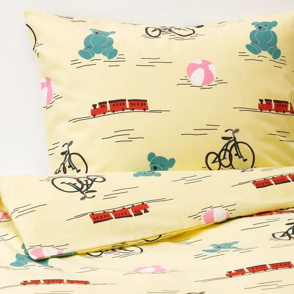 KÄPPHÄST Housse de couette et 1 taie, jouets jaune, 150x200/50x60 cm