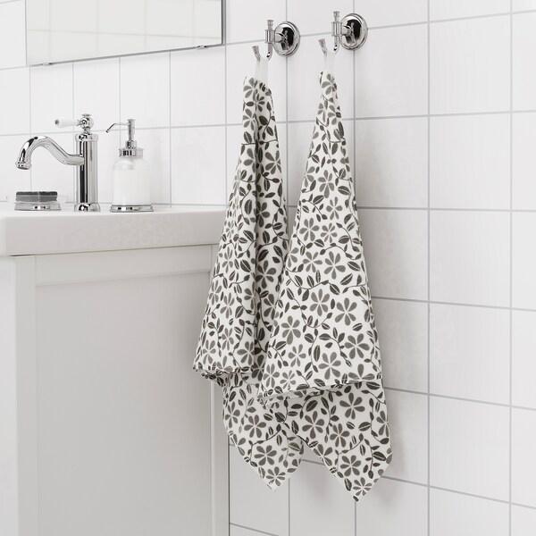 JUVELBLOMMA Serviette, blanc/gris, 50x100 cm