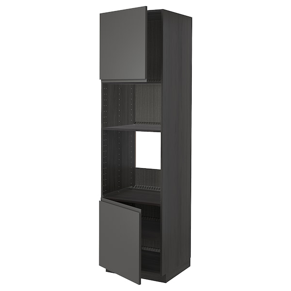 METOD Armoire four/micro-ondes 2portes/tb, noir/Voxtorp gris foncé, 60x60x220 cm