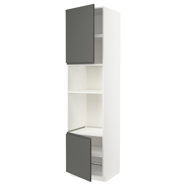 METOD Armoire four/micro-ondes 2portes/tb, blanc/Voxtorp gris foncé, 60x60x240 cm