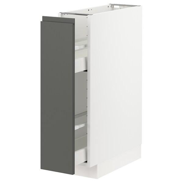 METOD / MAXIMERA Élément bas+rgts coulissants, blanc/Voxtorp gris foncé, 20x60 cm