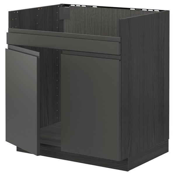 METOD Rangemt bas pr évier 2 bacs HAVSEN, noir/Voxtorp gris foncé, 80x60 cm