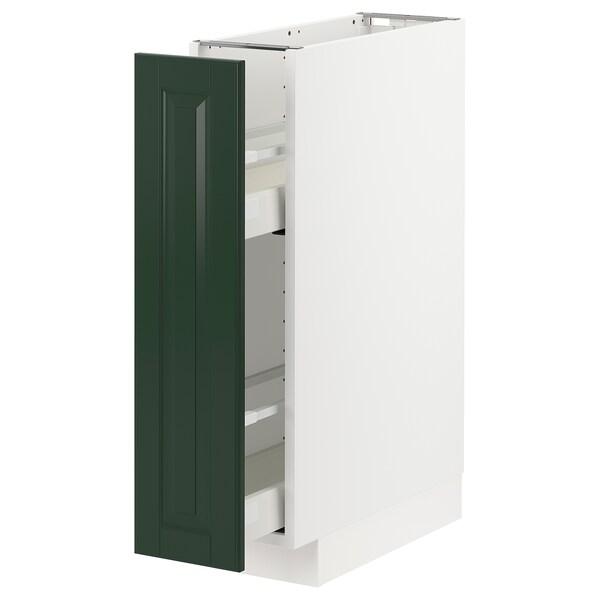 METOD / MAXIMERA Élément bas+rgts coulissants, blanc/Bodbyn vert foncé, 20x60 cm