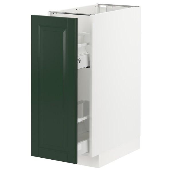 METOD / MAXIMERA Élément bas+rgts coulissants, blanc/Bodbyn vert foncé, 30x60 cm