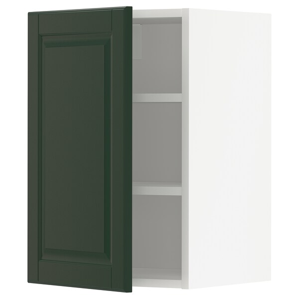 METOD Élément mural + tablettes, blanc/Bodbyn vert foncé, 40x60 cm