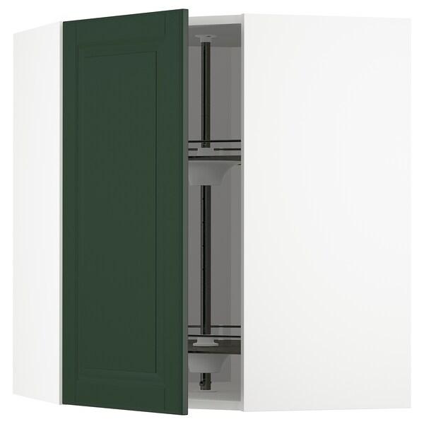 METOD Élément angle mural+rangement pivot, blanc/Bodbyn vert foncé, 68x80 cm