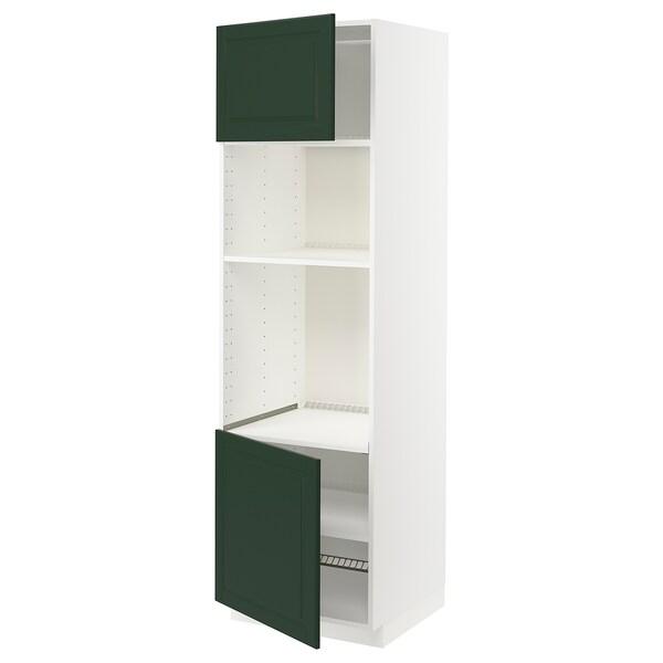 METOD Armoire four/micro-ondes 2portes/tb, blanc/Bodbyn vert foncé, 60x60x200 cm